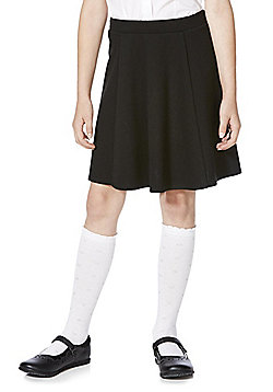 F&F School Girls Jersey Skater Skirt - Black