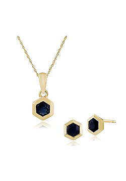 Gemondo 9ct Yellow Gold Sapphire Hexagon Stud Earring & 45cm Necklace Set
