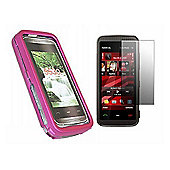 iTalkOnline Pink Hybrid Case + LCD Screen protector and Cleaning Cloth - Nokia 5530