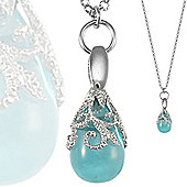 Jewelco London Sterling Silver Glass blue topaz - CZ Encrusted floral teardrop - Necklace - MM