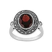 Gemondo Sterling Silver 2.50ct Garnet & Marcasite Antique Style Cluster Ring
