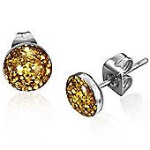 Urban Male Stainless Steel Gold Shimmer Stud Earrings 7mm