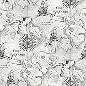 Navigator Vintage Map Grey Wallpaper - Arthouse 622004