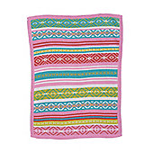 Mothercare Pink Aztec Knitted Blanket