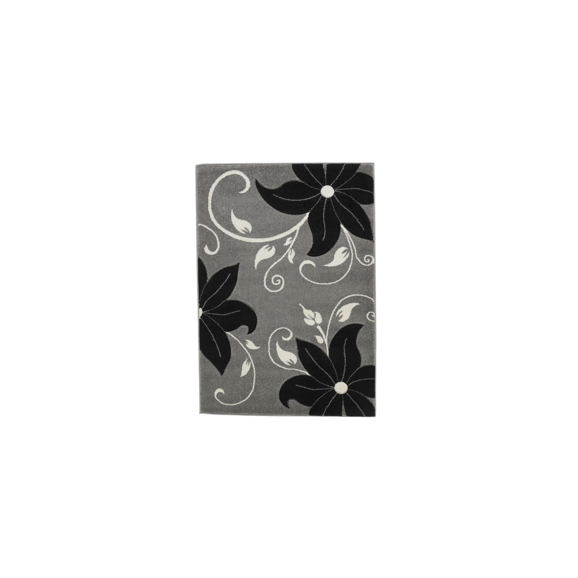 Oriental Carpets & Rugs Verona Grey/Black Carved Rug - 80 cm x 150 cm (2 ft 7 in x 4 ft 11 in)
