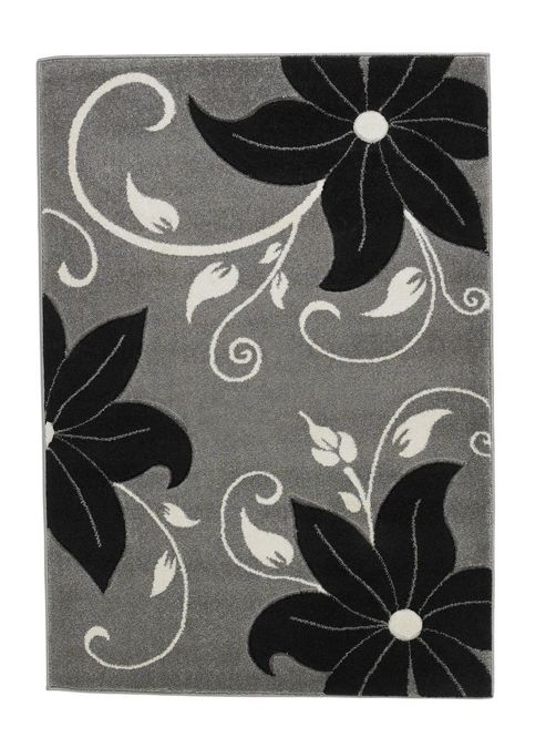 Oriental Carpets & Rugs Verona Grey/Black Carved Rug - 80 cm x 150 cm (2 ft 7 in x 4 ft 11 in)