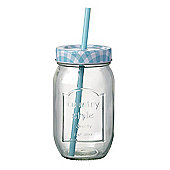 Parlane American Style Glass Bottle Drinks Jar with Blue Straw - 20 x 8cm