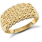9ct Solid Gold light weight 5 row Keeper Ring