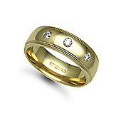 Jewelco London 9ct Yellow Gold 7mm Court Mill-Grain Diamond set 24pts Trilogy Wedding / Commitment Ring