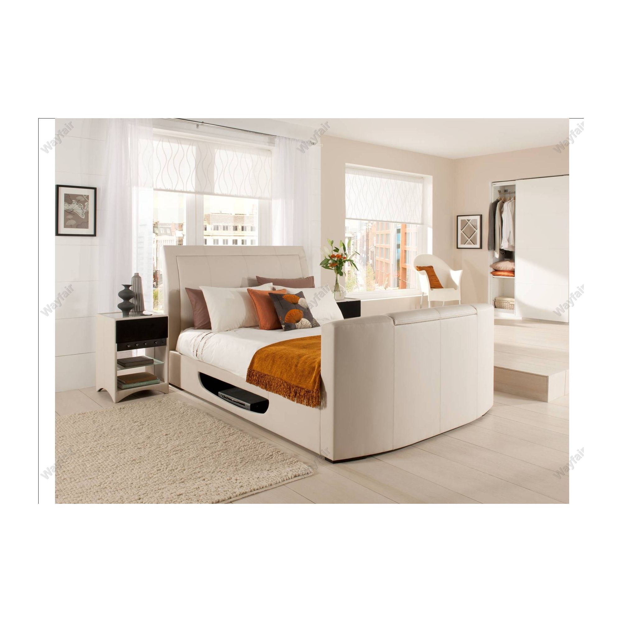 Super king size bed with tv - Kaydian Stanton Tv Bed Frame King 5 Cream