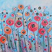 Artistic Britain Garden on Blue by Claire Barone Glass Print Art