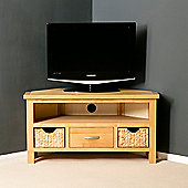 London Oak Corner TV Stand with Baskets - Lacquer Finish