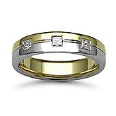18ct Yellow & White Gold 5mm Flat Court Diamond set 30pts Trilogy Wedding / Commitment Ring