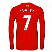 2013-14 Liverpool Long Sleeve Home Shirt (Suarez 7) - Kids - Red