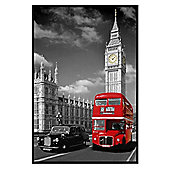 Iconic London View Gloss Black Framed Piccadilly Bus and Black Cab Poster