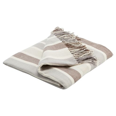 Tesco Herringbone Throw Natural