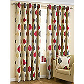 Leaves Ready Made Eyelet Curtains - Fully Lined - Duckegg Blue & Red - Red