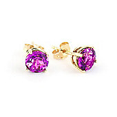 QP Jewellers 3.10ct Pink Topaz Stud Earrings in 14K Gold