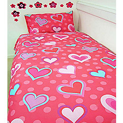 Hearts, Pink and Aqua Single Bedding
