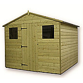 8ft x 8ft Premier Pressure Treated T&G Apex Shed + Reverse 2 Windows + Higher Eaves & Ridge Height + Single Door