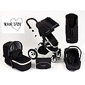 Your Baby Alaska Black 3 In 1 Pram/Travel System/Car Seat/Pushchair/Stroller