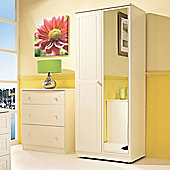 Welcome Furniture Warwick 76.2 cm Wardrobe with Mirror - Cream