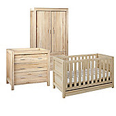 Milan 3 Piece Room Set (Cot, Chest, Wardrobe) - Reclaimed Oak Finish