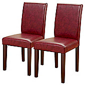 Pair of PU Leather Dining Chairs in Red