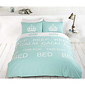 Rapport Keep Calm Double Quilt Set Duck Egg