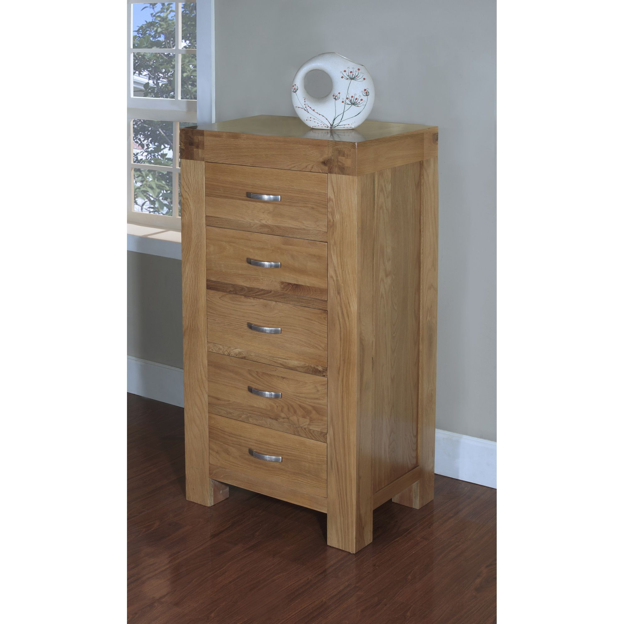 Hawkshead Rustic Oak Blonde Wellington Chest of 5 Drawers at Tesco Direct