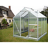 Nison EaZi-Click 6X6 Aluminium Polycarbonate Greenhouse in Silver including Base