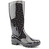 Brantano Ladies Leopard Black Wellington Boots