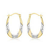 9ct 2 Colour Gold Patterned Creole Earrings