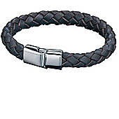 Mens Fred Bennett Braided Brown Leather Bracelet with Steel Magnetic Clasp