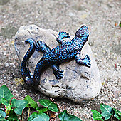 Decorative Sitting Lizard on a Rock Resin Garden Ornament