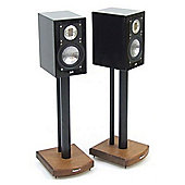 MOSECO 5 Black and Dark Oak Speaker Stands