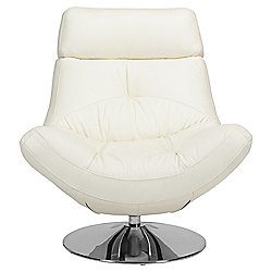 Swivel Leather Chair White