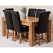 Kuba Chunky Solid Oak 180 cm Dining Table with 6 Black Washington Leather Chairs