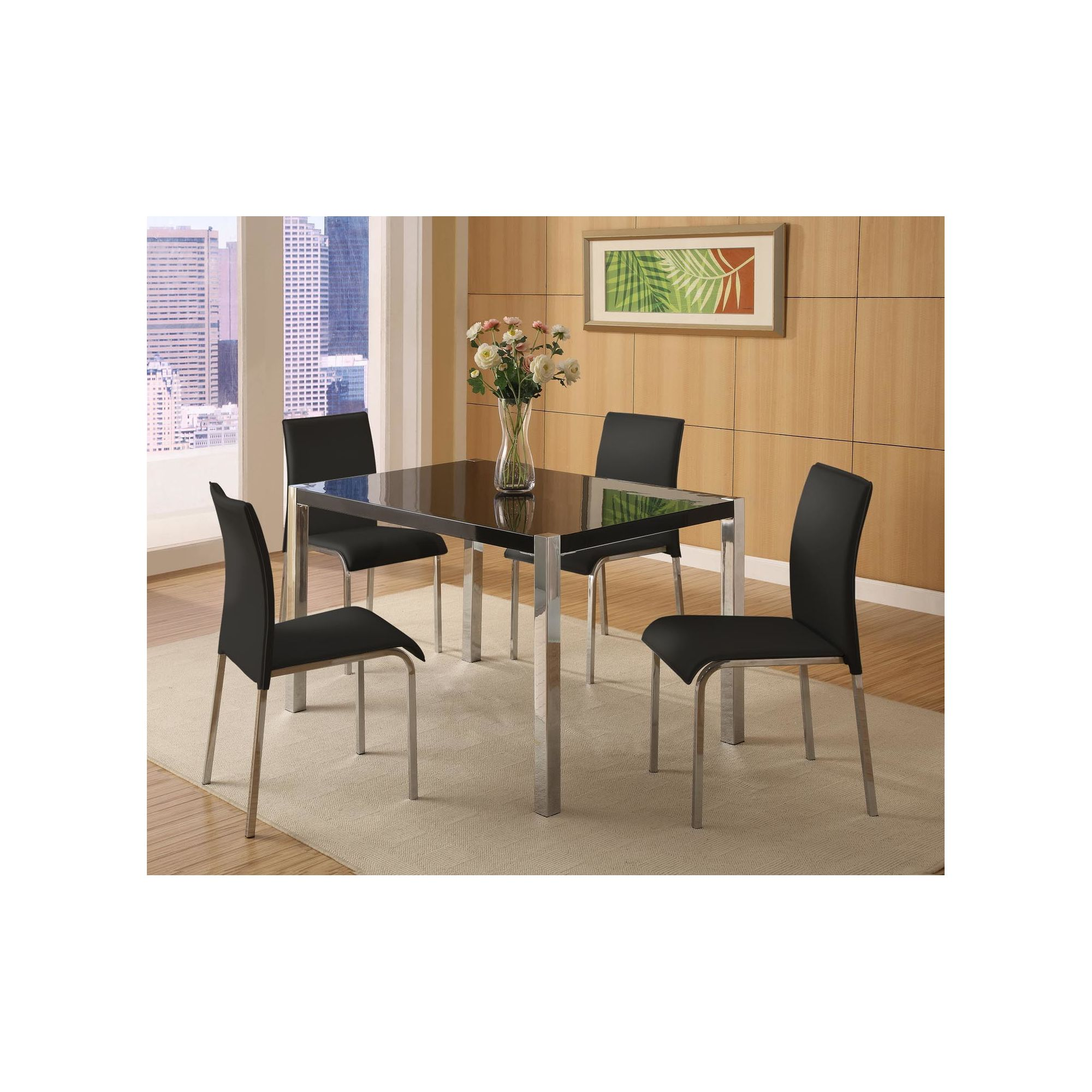 Home Essence Boston 5 Piece Dining Set in Black at Tesco Direct