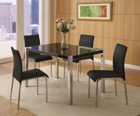 Home Essence Boston 5 Piece Dining Set in Black