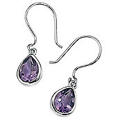 Purple Amethyst Silver Teardrop Earrings