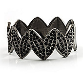 Black Tone Crown Shaped Swarovski Crystal Hinged Bangle