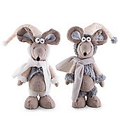 Miles & Munro the 45cm Free-standing Christmas Mouse Ornaments with White & Grey Scarves
