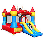 Large Turret Bouncy Castle with Slide Red & Yellow & Blue
