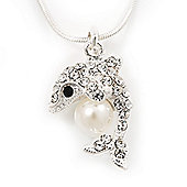 Crystal 'Dolphin & Pearl' Pendant Necklace In Rhodium Plated Metal - 42cm Length