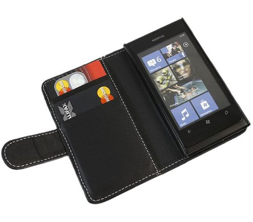 iTALKonline Black Wallet Case with Credit Card Holder - For Nokia Lumia 800