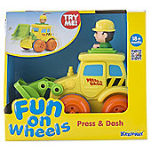 Fun on Wheels Press & Dash Vehicles Bulldozer