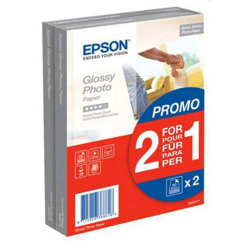 Epson C13S042177 Glossy Photo Paper 10 x 15 cm (2 x 50 Sheets) [Pack of 2]