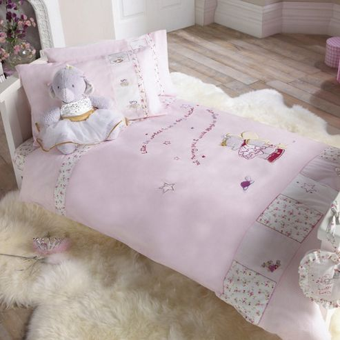 Lottie fairy princess cot bed duvet cover and pillowcase set in pink