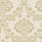 Superfresco Aurora Shimmer Damask Beige/Gold Wallpaper